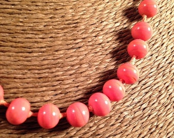 Now On Sale Art Deco Coral Glass Beaded Necklace Hand Knotted Signed Laguna