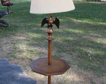 "Mid-Century Americana ~ Brass/Wood ""Eagle"" lamp w/ table"
