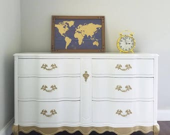 French Provincial White/Gold dipped