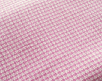 Fabric light pink gingham cotton