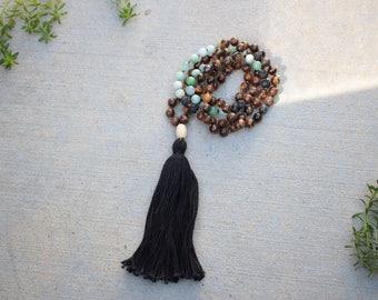 Gemstone Mala Beads, 108 Hand Knotted Meditation Beads, Tigers Eye Mala Necklace, Buddhist Prayer Baads