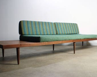 Mid Century Modern Walnut Platform Sofa