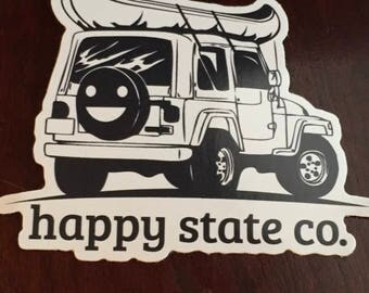 Happy state co. Happy jeep canoe sticker decal