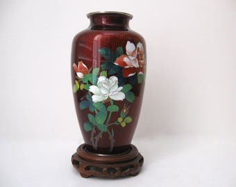 Japanese Pigeon Blood Cloisonné Vase with Silver Mounts, Early Twentieth Century