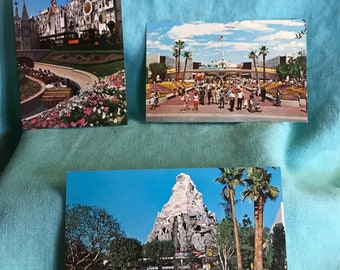 3 unused vintage Disneyland postcards 1960's