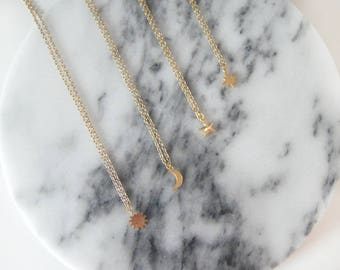 Dainty Gold Necklace • Celestial Necklace • Moon Necklace  • Crescent Necklace • Star Necklace • Sun Necklace • North Star Necklace