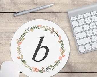 ON SALE: Light Grey Monogram Mouse Pad, Mouse pad Floral, Personalized Mouse pad, Monogram Coaster, Floral Coaster, Personalized Coaster (00