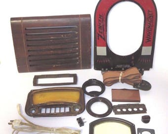 Lot of Vintage Tube Radio Parts - Plates Dials Wave Magnet & More