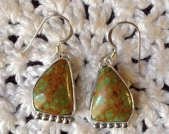 Green Turquoise with Brown Matrix Earrings