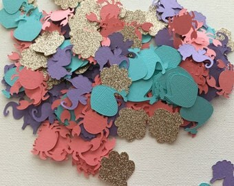 Mermaid Theme Table Top Confetti  - Approximately 250 Pieces / Mermaid Theme Party Decorations / Mermaid Theme Baby Shower / Under The Sea