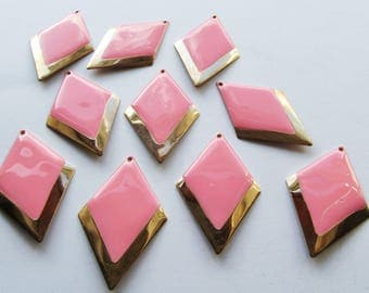 Lot of 10 Gold and Pink Enamel Rhombus Pendants 53mm
