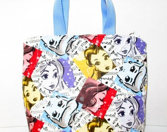 RTS  Beautiful Handmade Quilted Princesses Girls Purse  10 x 10  Princess Cinderella Bell Snow White Rapunzel Reusable