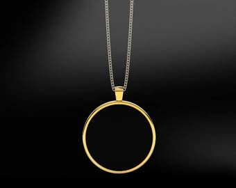 Black Agate in 18K Gold or Silver Pendant