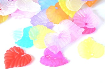 mixed color frosted acrylic leaves 20 charms 15x14mm