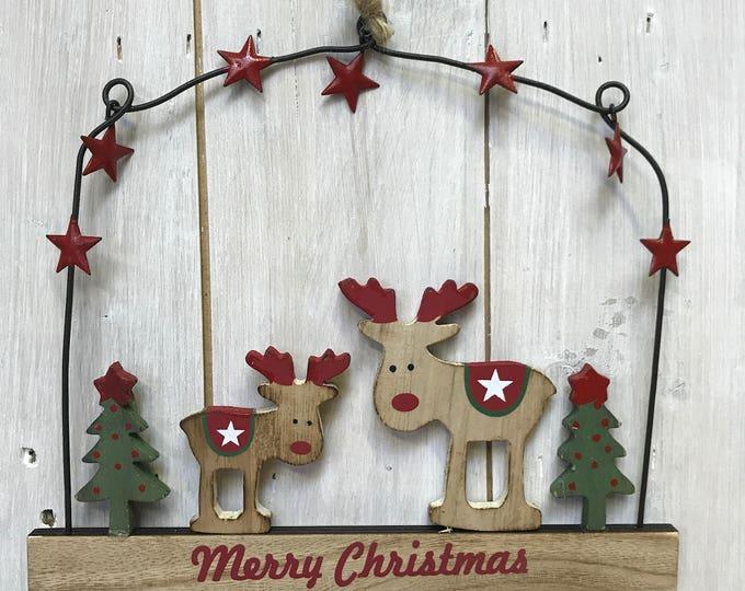 Christmas Wooden, Pine Cone, Stars, Rustic, Natural, Handmade, Wreath, Christmas Door Decoration