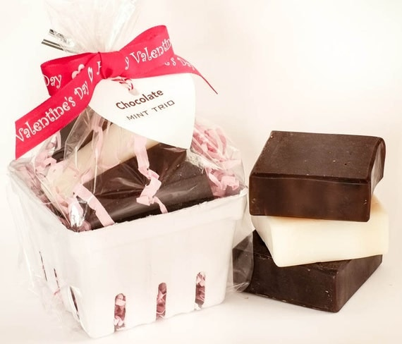 VALENTINE Chocolate Mint TRIO Basket | Mocha Mocha - Peppermint Latte - Chocolate Mint | 4oz each | Bubbly and Nourishing