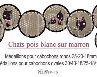 Digital image digital cabochons jewelry * cat polka dot white