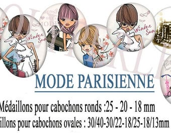 Images digital round cabochons and oval fashion eiffel tower