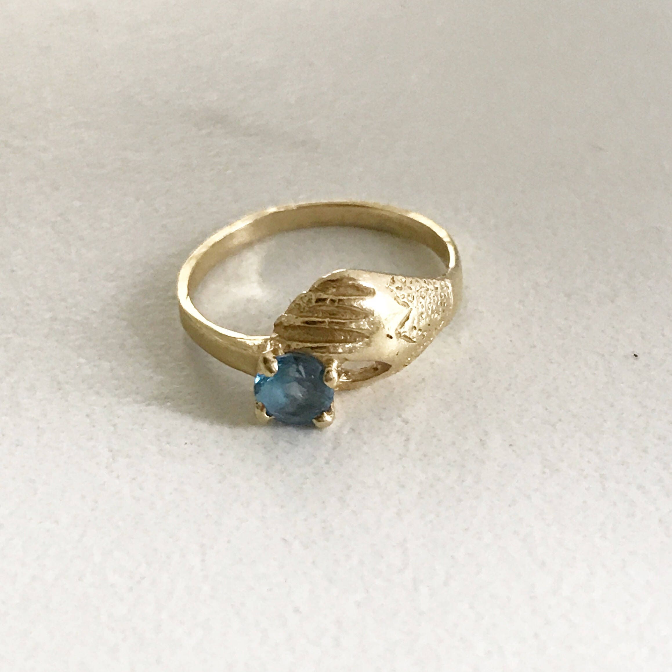Antique Victorian Claddagh ring Blue topaz pinky ring