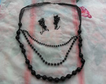 Sale on 1 Beautiful  Black Beaded Necklace and Earrings for Special Someone