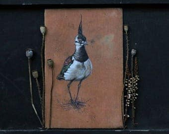 Lapwing Bird Painted on Antique Book Cover - Beautiful Piece