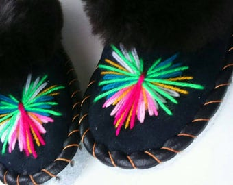Sheepskin  slippers Warm home shoes Fur moccasins Winter fur slippers Women moccasins Warm slippers Leather shoes Size US 36-41