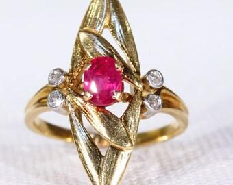 Antique French Art Nouveau Ruby Diamond Ring