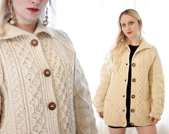 Vintage 1960s 1970s Irish fisherman cable knit cardigan sweater wooden buttons Loch Garman made in ireland