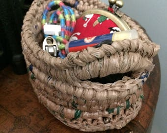 Small Beige Plarn Basket