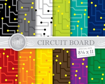 CIRCUIT BOARD Digital Paper / Robot Printables / 8 1/2 x 11 Circuit Patterns Download, Instant Downloads, Scrapbook Paper