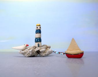 White and turquoise lighthouse, Miniature lighthouse , Sail boat, Housewarming gift, Gift for him, Man cave decor, Teacher's gift , For him