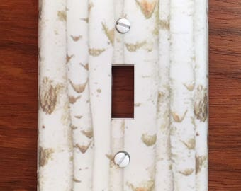 Rustic Wood white Birch Light switch cover image // ** SAME DAY SHIPPING