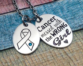 Cancer Jewelry, Cancer Awareness necklace, Ovarian Cancer jewelry, Cervical Cancer, Ovarian Cancer Survivor Jewelry, Cervical Cancer Gift