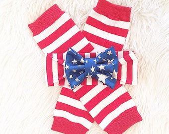 Baby girl 4th of July striped leg warmers and/or headband
