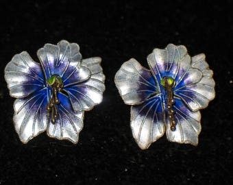 Gold Vermeil Sterling Purple Enamel Flower Post Earrings
