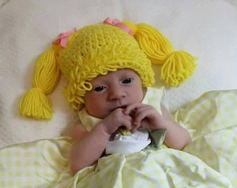 Cabbage patch kids inspired crochet hat, crochet baby hat, cabbage patch costume, crochet hat,newborn photo prop, cabbage patch wig, girl