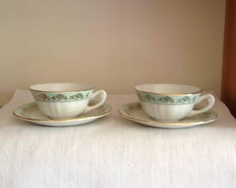 PAIR of pretty French vintage tea cups from the 1950's.
