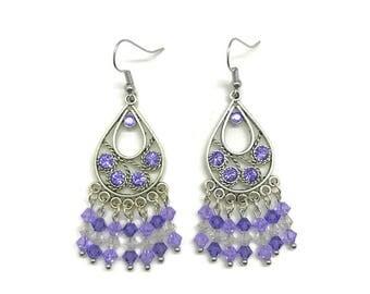 Purple Chandelier Earrings, Tanzanite Crystal, Purple Crystal, Teardrop Earrings, Tanzanite Earrings, Purple Earrings, Crystal Earrings