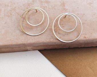 DOUBLE HOOP: hoop earrings, gold hoops, statement earrings, geometric earrings, minimalist earrinfs, gold earrings
