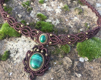 Macrame necklace malachite with a bronze setting - color brown