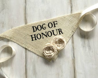 Small READY TO SHIP Canadian French Spelling Dog of Honour with Fabric Flowers Wedding Collar Girl Engagement Save the Date Photo Prop