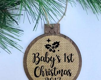 Baby's 1st Christmas 2017 / Mistletoe / Rustic / Christmas Ornament / Wood Burlap / Christmas Gift