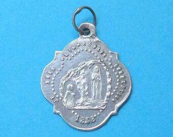 French, Antique Religious Sterling Pendant. Rosary Basilica. Saint Virgin Mary and Bernadette Soubirous. Lourdes 1858. Medal. 170626 1 B