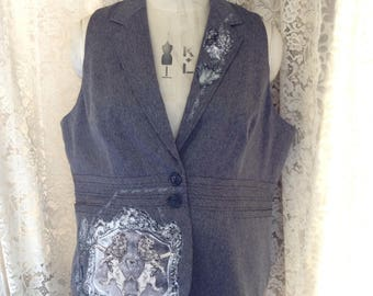 "Women's Waistcoat Vest, Appliqued with Gothic Design // Alternative Formalwear, Gothic Style, Steampunk // 54"" bust"