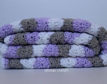 Crochet Baby Blanket | Violet, White, Gray Blanket | Shell Wavy Blanket | Baby Girl Blanket | Baby Shower Gift | Crochet Blanket | Bedding