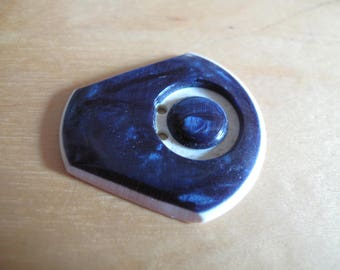 1 unusually shaped French ART deco blue and  white  Bakelite   1920's button 32 mm at widest 160617/23
