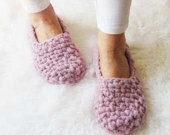 Merino Wool Slippers, Crochet slippers, Womens slippers, Gift for Her, Birthday gift, Women gift, elegant, light, healthy home shoes