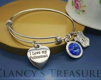 I love my Policeman Charm, Stainless Steel Wire Bangle Bracelet, Law Enforcement Bracelet, Officers Bracelet, Officers Gift, Christmas Gifts