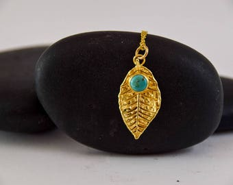 Rose, Leaf jewelry, rose leaf pendant, 18K gold plated, necklace, turquise, bothanical jewelry, gift for her, elvish necklace