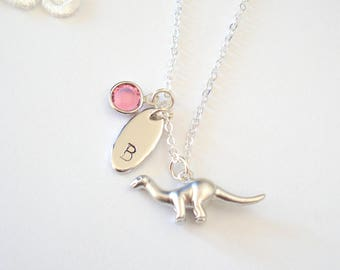 Little Dinosaur Necklace, Silver Charm Necklace, Rhodium Necklace, Quirky Jewelry, Dinosaur Jewelry, Gift for Her
